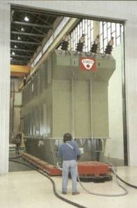 Handling tall transformers on air bearings - through doorways