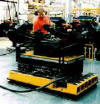 Solving Material Handling Equipment, Mobile Scissor Lift Table on Air Pallet base floats on a bearing of air